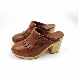 Madewell leather fringe heeled clogs
